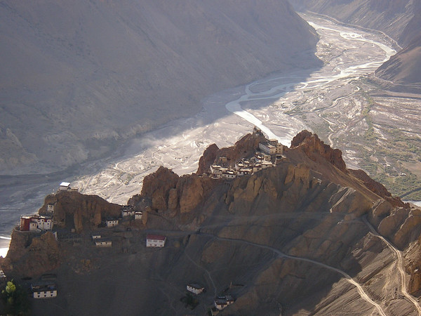 Looking down onto Dankar Gompa, old town and old palace.