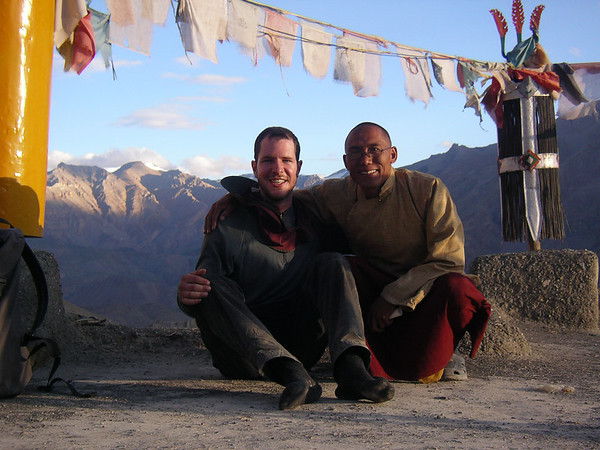 Dorji Lama and I on the roof of his gompa. We shared some chai and he showed me around.