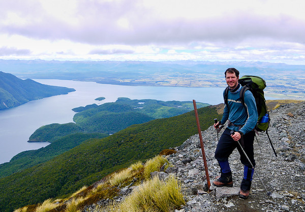On the Kepler Track with Lake Te Anau in the background.