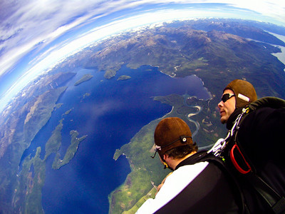 Skydiving over Lake Manapouri, near Te Anau, on New Years Day.
