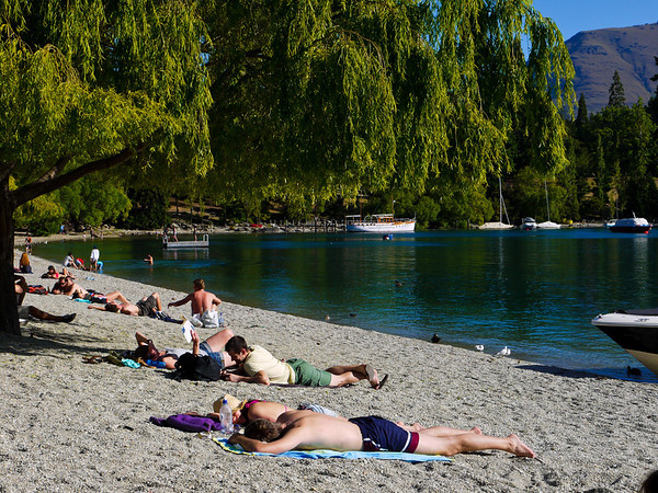 Queenstown's pebbly beach.