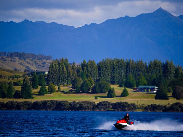 Jet skier on Lake Te Anau.