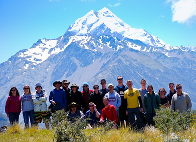The uni crew and lecturers in front of Mt Cook.