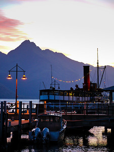 The wharf and TSS Earnslaw vintage steamship in Queenstown.