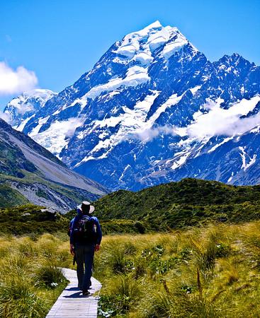 Hiking toward Mt Cook in it's namesake National Park.