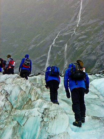 Hiking up Franz Joseph Glacier in crampons, the guides had already cut steps.